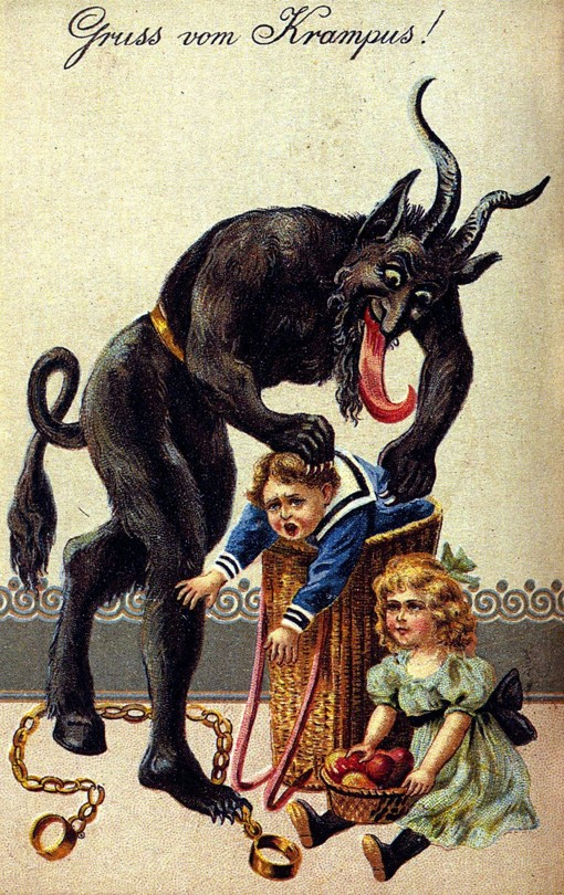 A 1900s greeting card reading 'Greetings from the Krampus!'